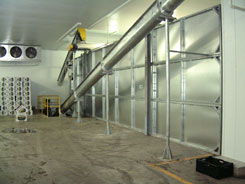 180 Ton Modular Rake Bin is  Installed Inside of a Cold Room
