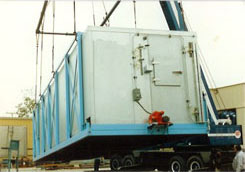 The 60 Ton Modular Ice Bin is Raised with Crane